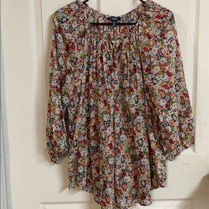 Chaps 2X Women's Blouse Flower Top
